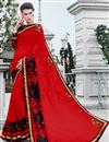 image of Hypnotizing Red Color Festive Wear Georgette Saree