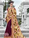 image of Maroon And Cream Color Festive Wear Satin And Georgette Saree With Unstitched Raw Silk Blouse