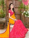 photo of Designer Lycra And Georgette Fabric Magnificent Yellow And Pink Color Half N Half Saree With Fancy Work