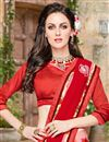 photo of Riveting Red And Pink Color Georgette Half N Half Saree With Unstitched Blouse