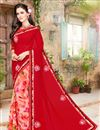 image of Riveting Red And Pink Color Georgette Half N Half Saree With Unstitched Blouse