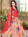 photo of Designer Pink Color Georgette Half N Half Saree With Designer Unstitched Blouse