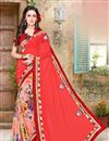 image of Designer Pink Color Georgette Half N Half Saree With Designer Unstitched Blouse