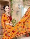 photo of Designer Georgette Fabric Magnificent Orange Color Saree With Fancy Work
