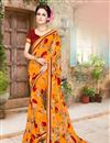 image of Designer Georgette Fabric Magnificent Orange Color Saree With Fancy Work