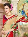 photo of Riveting Cream And Red Color Georgette Half N Half Saree With Unstitched Blouse
