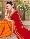 photo of Artistic Fancy Work Red And Orange Color Lycra And Georgette Half N Half Saree With Unstitched Blouse