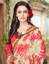 photo of Designer Georgette Fabric Magnificent Pink And Off White Color Saree With Fancy Work
