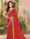 image of Riveting Red Color Georgette Saree With Unstitched Blouse