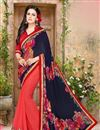 image of Artistic Fancy Work Blue And Pink Color Georgette Half N Half Saree With Unstitched Blouse