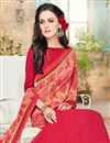 photo of Remarkable Pink Color Half N Half Saree With Fancy Work In Georgette Fabric