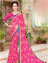 image of Attractive Pink Color Fancy Work Saree In Georgette Fabric
