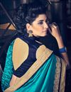 picture of Marvelous Cyan And Blue Color Designer Saree In Fancy And Georgette Fabric With Unstitched Blouse