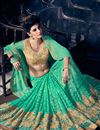 photo of Soothing Party Wear Fancy Silk Fabric Green Color Designer Saree