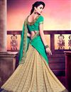 photo of Delectable Half N Half Silk And Net Party Wear Saree In Cyan And Beige Color