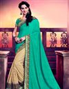 image of Delectable Half N Half Silk And Net Party Wear Saree In Cyan And Beige Color