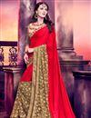 image of Sensational Red And Beige Color Half N Half Silk Saree
