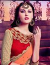 photo of Party Wear Likable Orange And Beige Color Chiffon Designer Saree