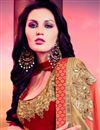 photo of Delectable Half N Half Chiffon And Georgette Party Wear Saree In Peach And Red Color