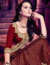 photo of Riveting Beige And Maroon Color Georgette And Silk Half N Half Party Wear Saree