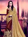 image of Riveting Beige And Maroon Color Georgette And Silk Half N Half Party Wear Saree