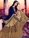 photo of Charismatic Designer Chiffon And Jacquard Designer Saree In Blue And Golden Color