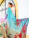 photo of Sky Blue And Beige Color Daily Wear Printed Saree In Georgette Fabric