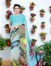 image of Sky Blue And Beige Color Daily Wear Printed Saree In Georgette Fabric