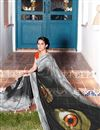 photo of Casual Wear Black And Grey Color Georgette Printed Saree