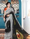 image of Casual Wear Black And Grey Color Georgette Printed Saree