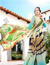 photo of Fancy Print Georgette Casual Wear Saree In Yellow And Cyan Color