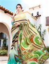 image of Fancy Print Georgette Casual Wear Saree In Yellow And Cyan Color