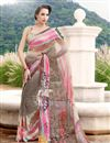image of Beige And Pink Color Casual Wear Georgette Printed Saree