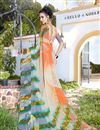photo of Orange And Grey Color Daily Wear Printed Saree In Georgette Fabric