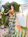 image of Orange And Grey Color Daily Wear Printed Saree In Georgette Fabric