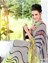 photo of Grey And Green Color Fancy Print Georgette Saree With Blouse