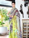 image of Grey And Green Color Fancy Print Georgette Saree With Blouse