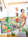 photo of Regular Wear Digital Print Georgette Saree In Grey And Orange Color