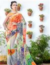 image of Regular Wear Digital Print Georgette Saree In Grey And Orange Color