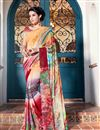 image of Casual Wear Orange And Red Color Georgette Printed Saree