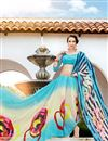 photo of Fancy Print Georgette Casual Wear Saree In Aqua And Beige Color