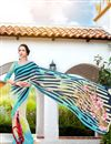 image of Fancy Print Georgette Casual Wear Saree In Aqua And Beige Color