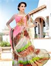 photo of Pink And Grey Color Casual Wear Georgette Printed Saree