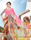 image of Pink And Grey Color Casual Wear Georgette Printed Saree