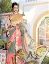 image of Grey And Cream Color Daily Wear Printed Saree In Georgette Fabric