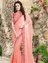 image of Peach Color Festive Wear Chiffon-Silk Fabric Designer Saree