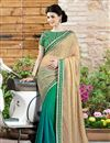 image of Designer Party Wear Beige-Teal Color Saree in Georgette-Chiffon Fabric