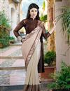 image of Embroidered Lycra-Net Fabric Designer Saree in Cream-Coffee Color