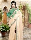 image of Cream Color Embroidered Designer Saree in Chiffon-Net Fabric