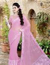 image of Lycra-Net Fabric Designer Saree in Lavender Color with Embroidery